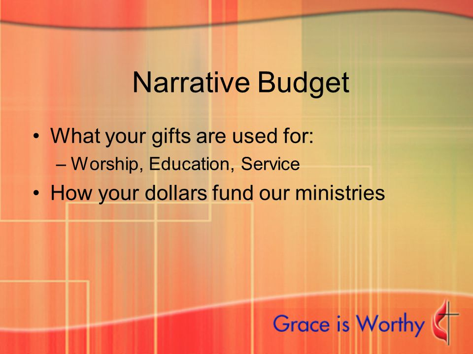 Narrative Budget What your gifts are used for: –Worship, Education, Service How your dollars fund our ministries