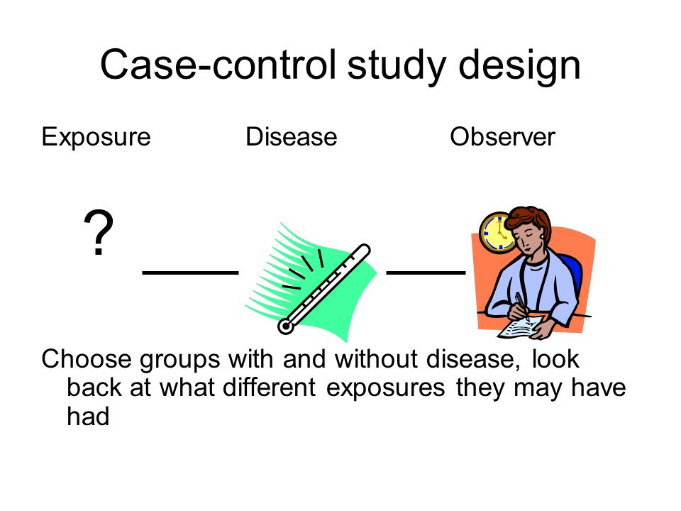 Case-control study design ExposureDiseaseObserver .