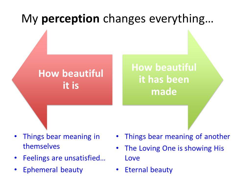 My perception changes everything… How beautiful it is How beautiful it has been made Things bear meaning in themselves Feelings are unsatisfied… Ephemeral beauty Things bear meaning of another The Loving One is showing His Love Eternal beauty