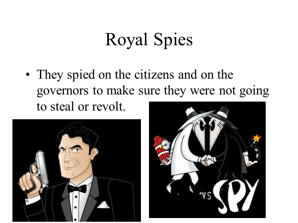 Royal Spies They spied on the citizens and on the governors to make sure they were not going to steal or revolt.