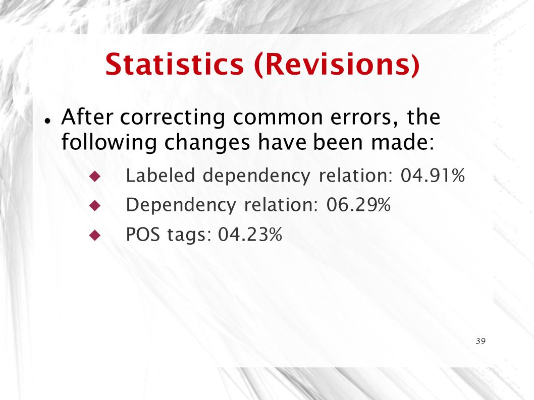 39 Statistics (Revisions ) After correcting common errors, the following changes have been made:  Labeled dependency relation: 04.91%  Dependency relation: 06.29%  POS tags: 04.23%