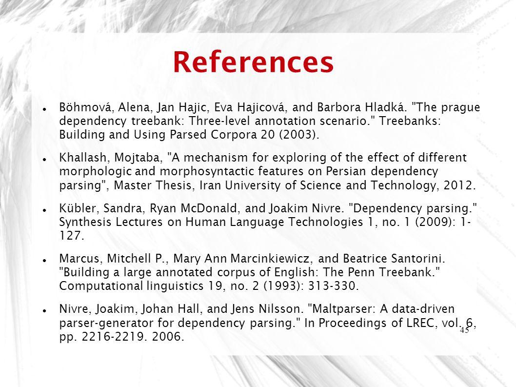 45 References Böhmová, Alena, Jan Hajic, Eva Hajicová, and Barbora Hladká.