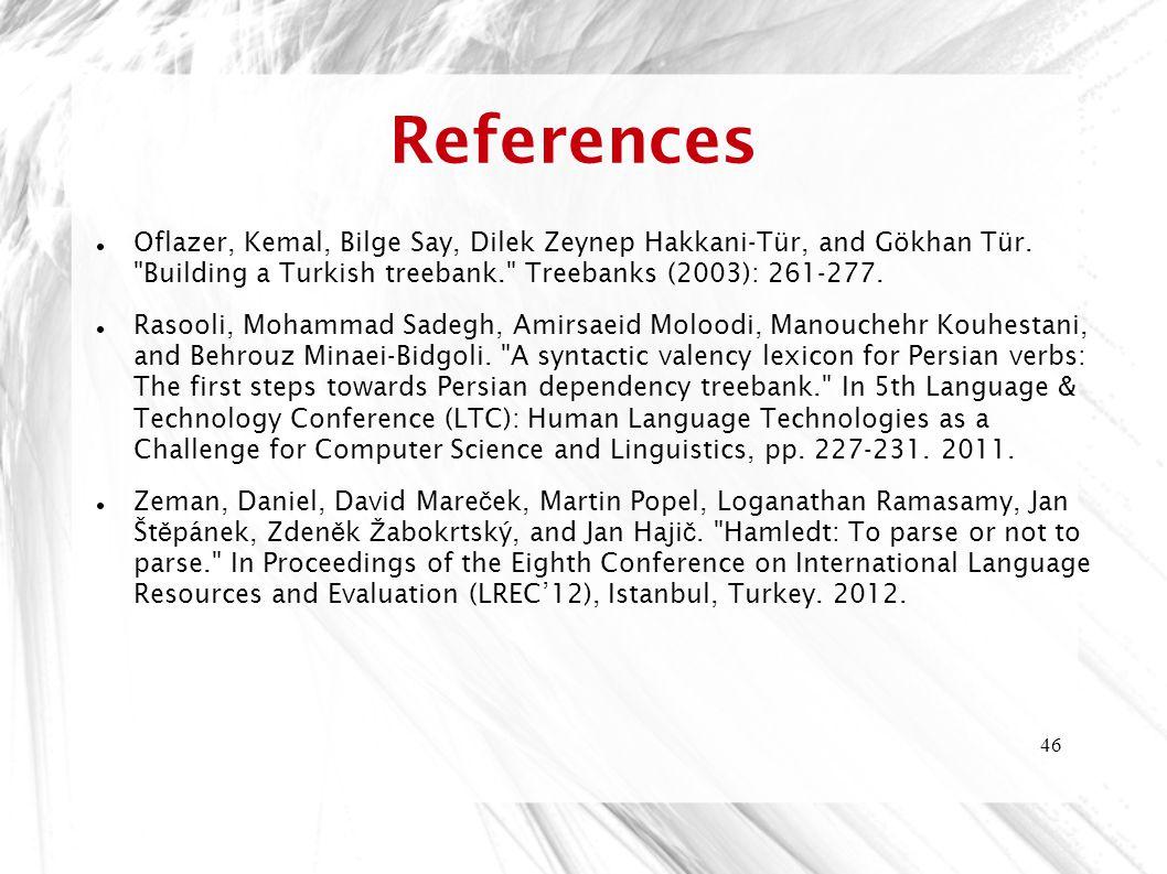 46 References Oflazer, Kemal, Bilge Say, Dilek Zeynep Hakkani-Tür, and Gökhan Tür.