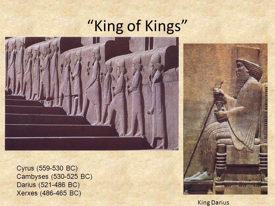 """""""King of Kings"""" King Darius Cyrus (559-530 BC) Cambyses (530-525 BC) Darius (521-486 BC) Xerxes (486-465 BC)"""