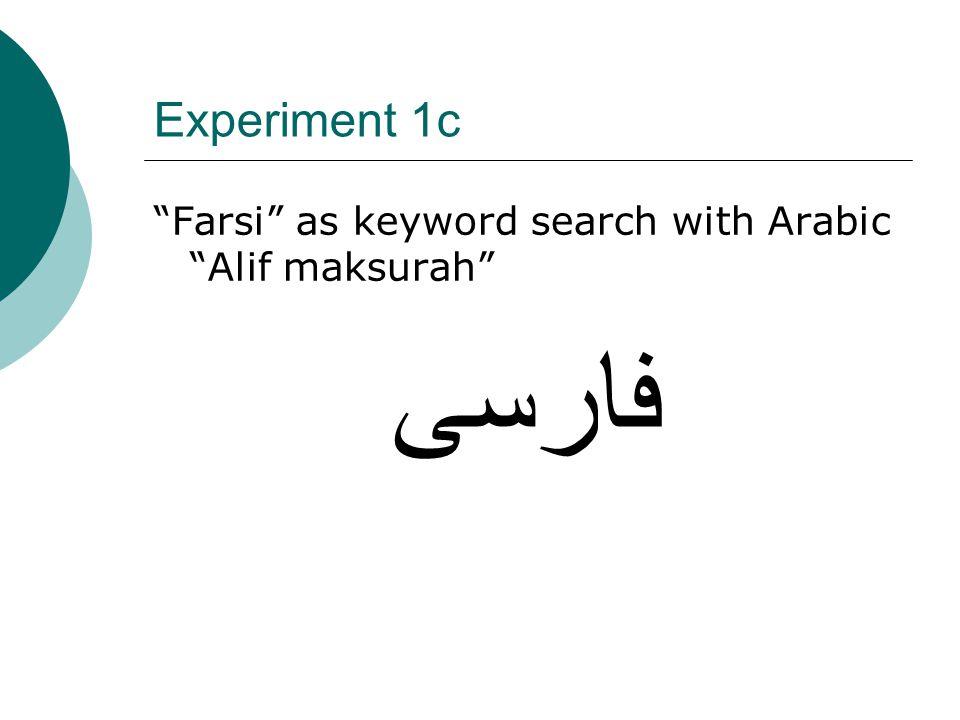Experiment 1c Farsi as keyword search with Arabic Alif maksurah فارسى