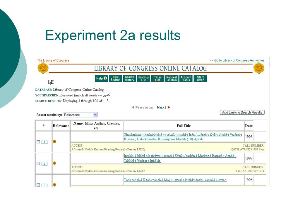 Experiment 2a results