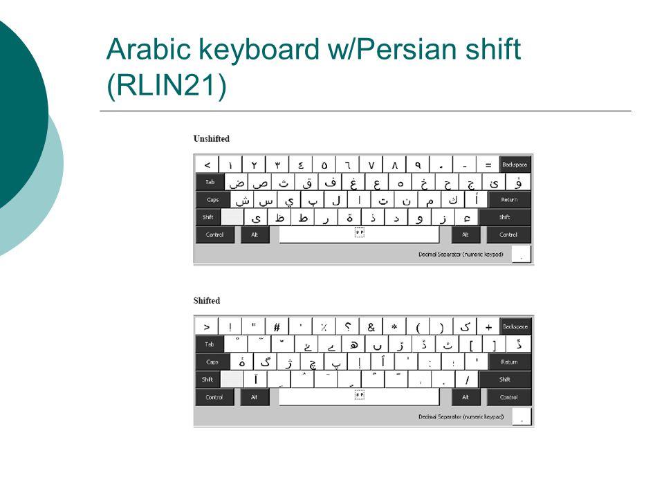 Arabic keyboard w/Persian shift (RLIN21)