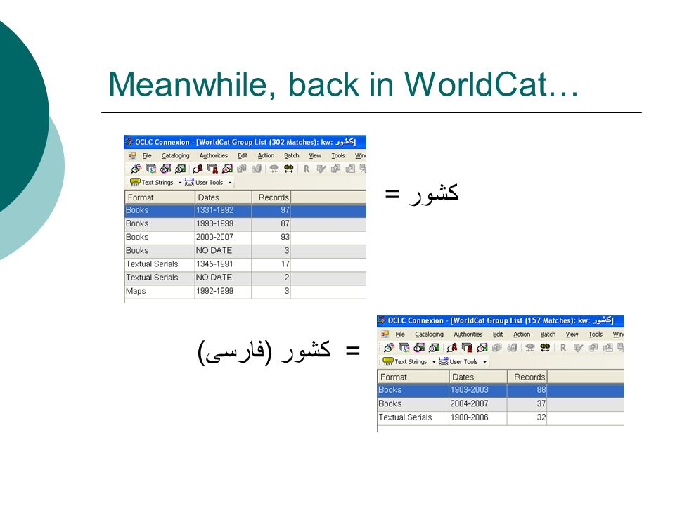 Meanwhile, back in WorldCat… كشور = = کشور ( فارسی )