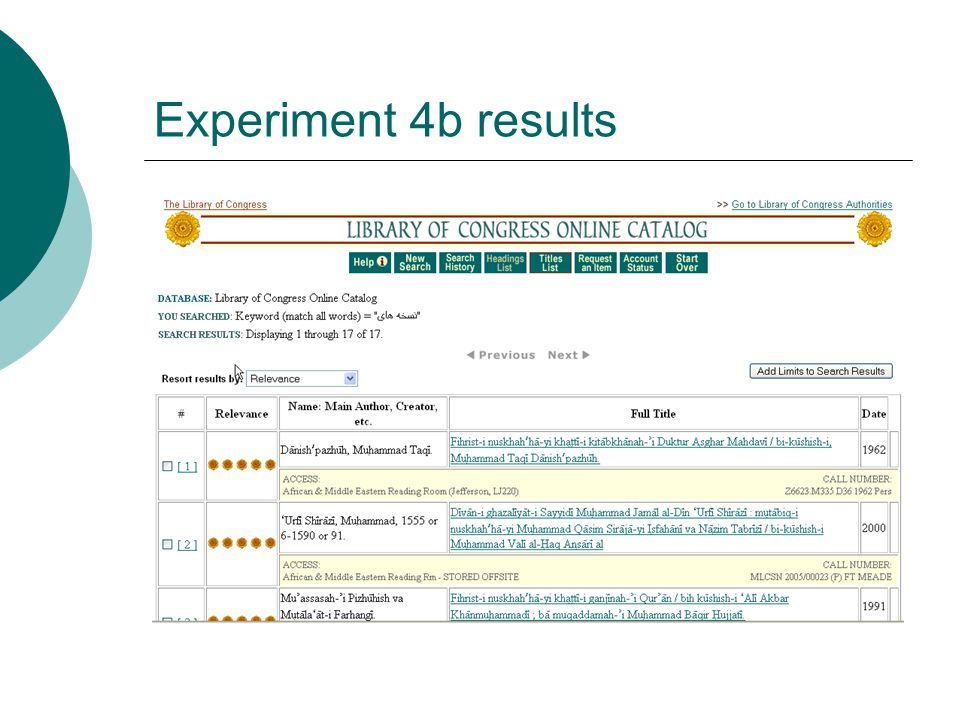 Experiment 4b results