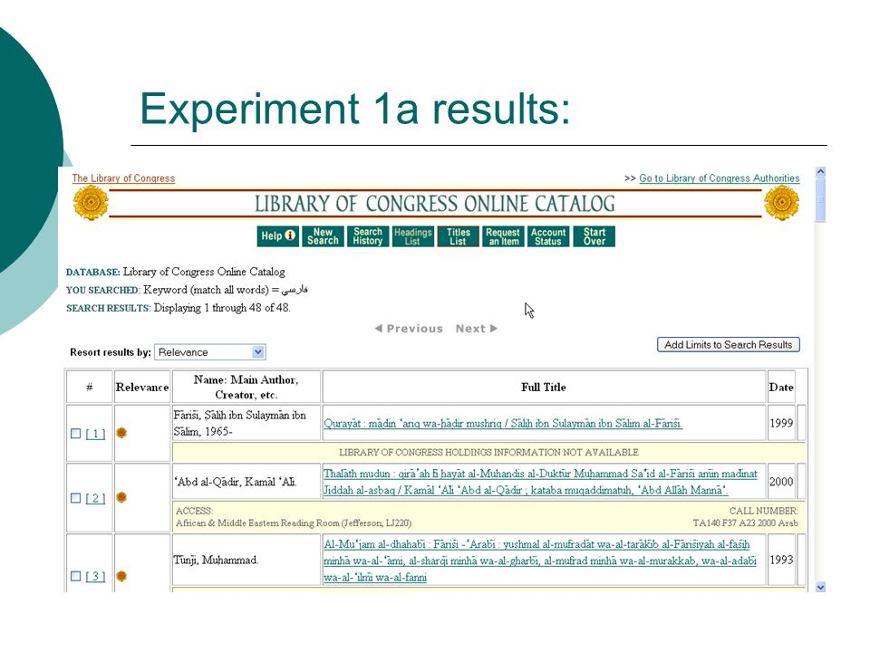 Experiment 1a results: