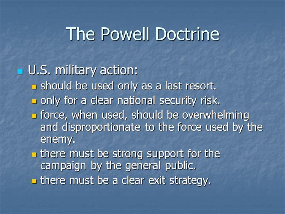 The Powell Doctrine U.S. military action: U.S.