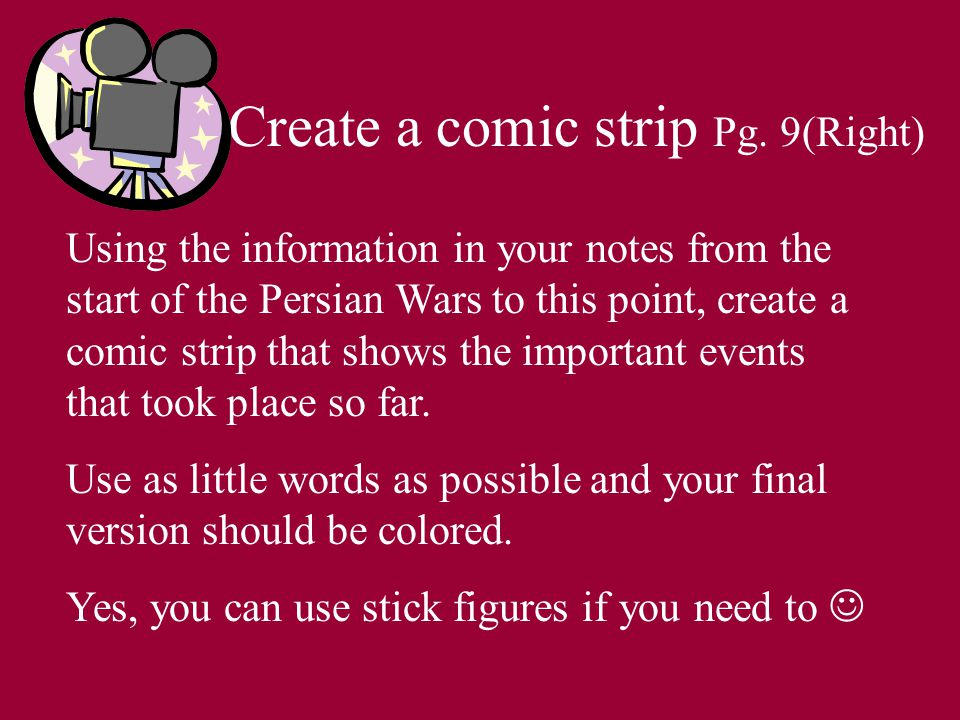 Create a comic strip Pg.
