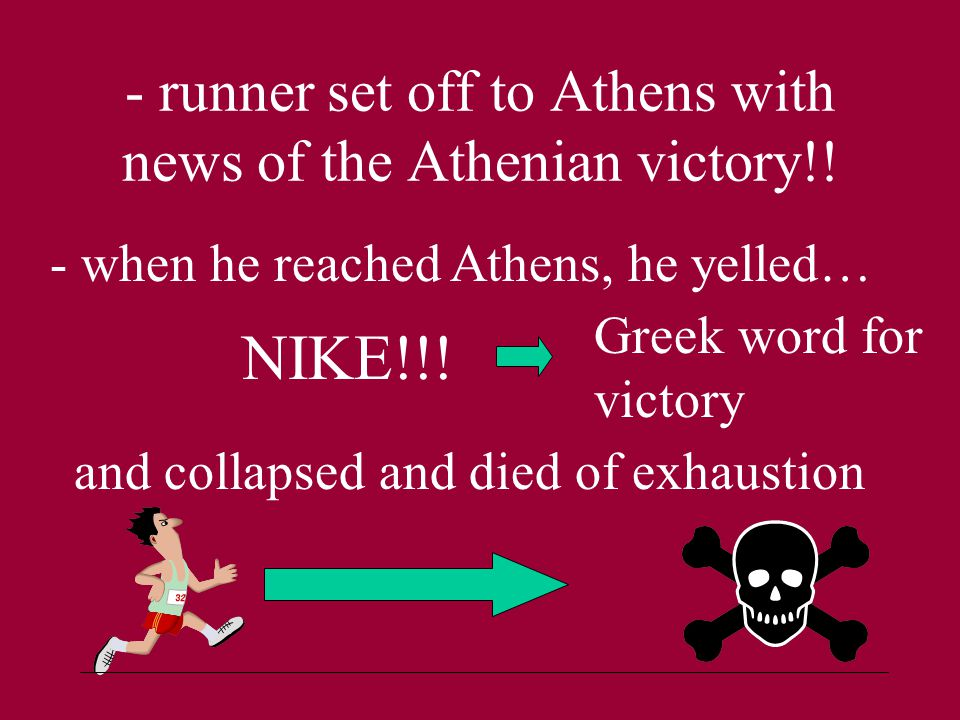 - runner set off to Athens with news of the Athenian victory!.