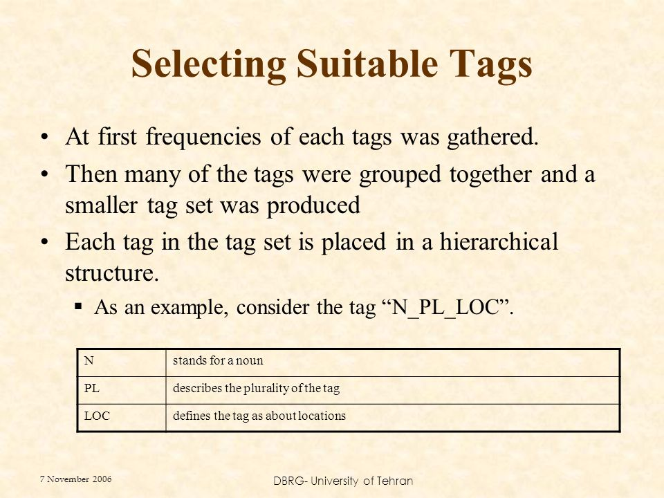 7 November 2006 DBRG- University of Tehran Selecting Suitable Tags At first frequencies of each tags was gathered. Then many of the tags were grouped