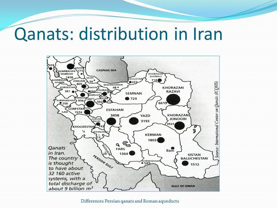Qanats: distribution in Iran Differences Persian qanats and Roman aqueducts