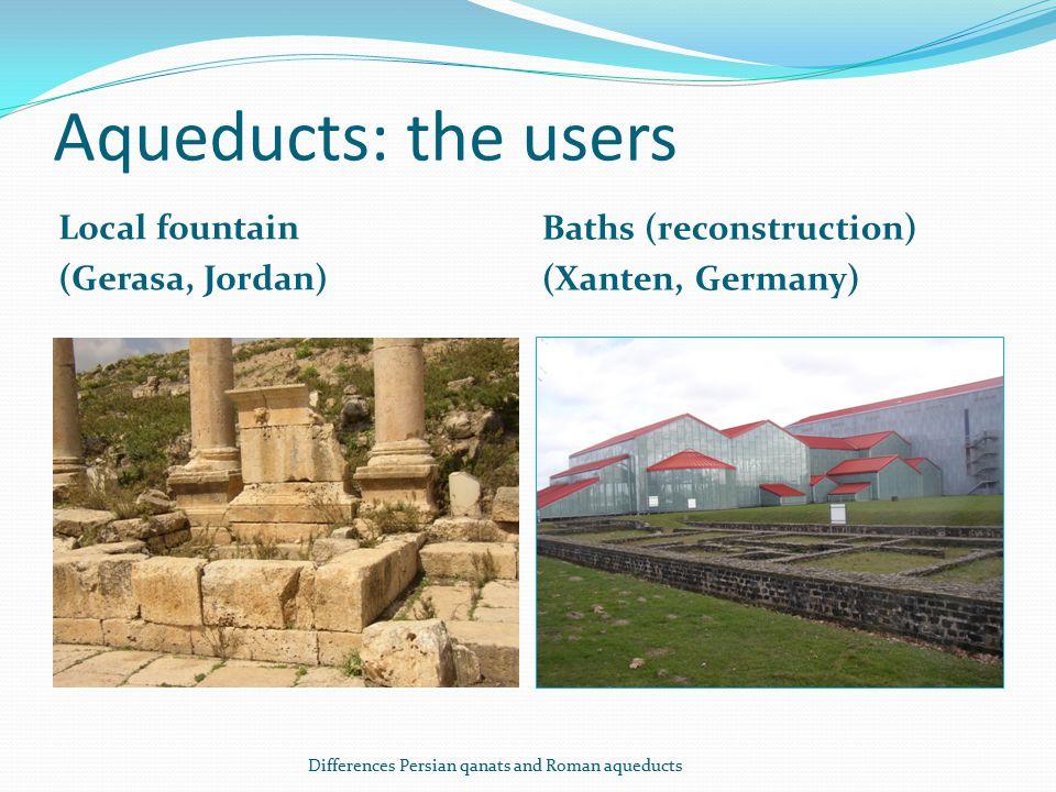 Aqueducts: the users Local fountain (Gerasa, Jordan) Baths (reconstruction) (Xanten, Germany) Differences Persian qanats and Roman aqueducts