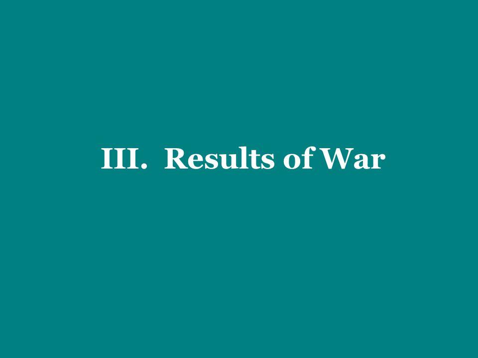 III. Results of War
