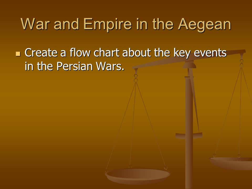 War and Empire in the Aegean Create a flow chart about the key events in the Persian Wars. Create a flow chart about the key events in the Persian War