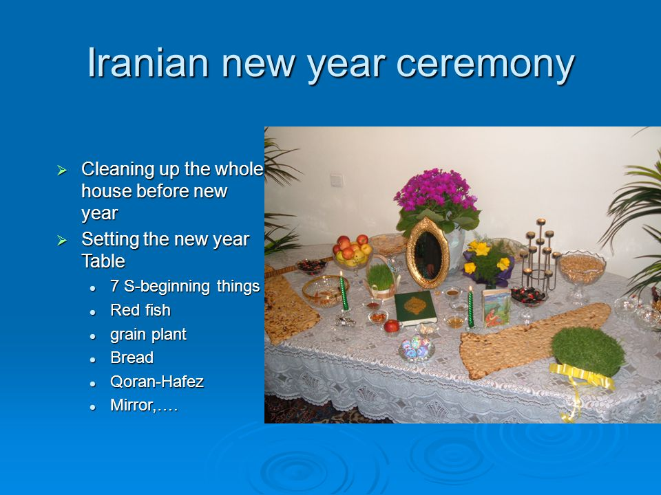 Iranian new year ceremony  Cleaning up the whole house before new year  Setting the new year Table 7 S-beginning things 7 S-beginning things Red fish Red fish grain plant grain plant Bread Bread Qoran-Hafez Qoran-Hafez Mirror,….