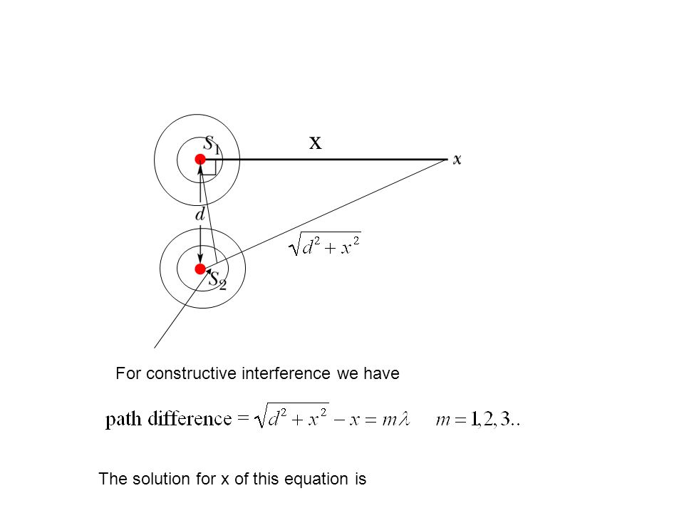 x The solution for x of this equation is For constructive interference we have