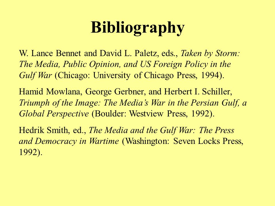 Bibliography W. Lance Bennet and David L.