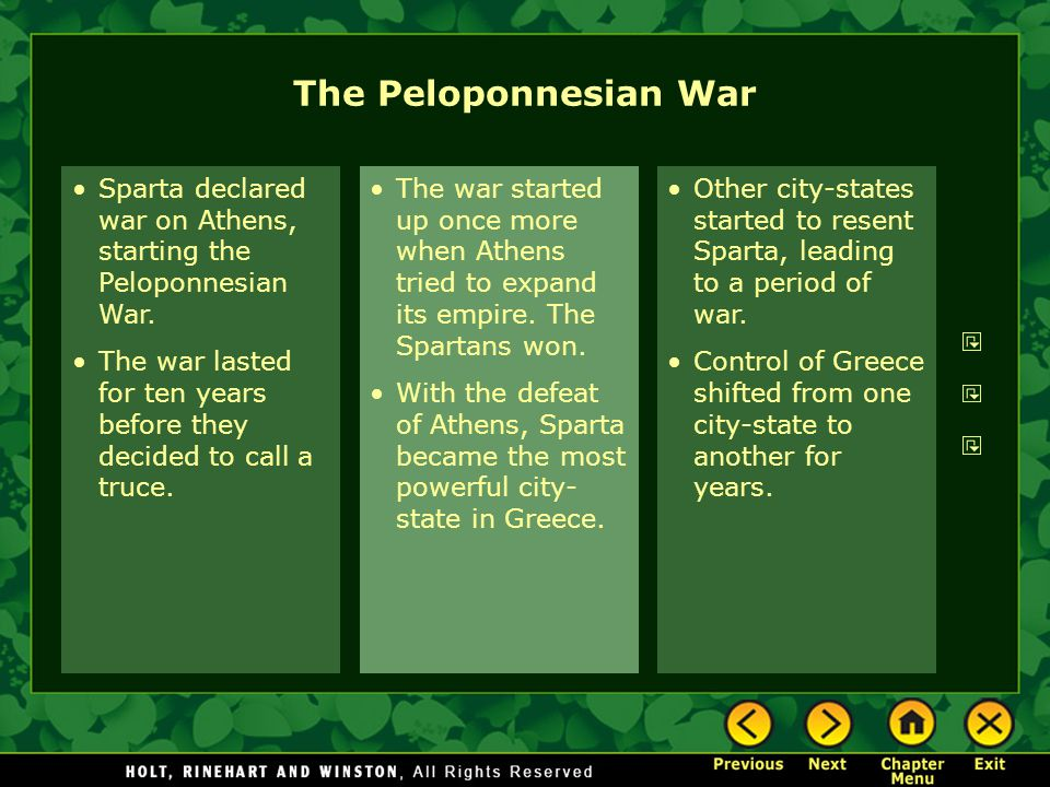 Sparta declared war on Athens, starting the Peloponnesian War. The war lasted for ten years before they decided to call a truce. The war started up on
