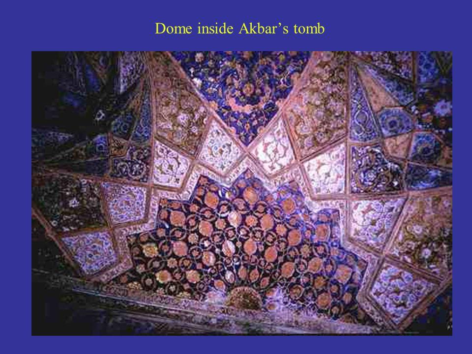 Dome inside Akbar's tomb