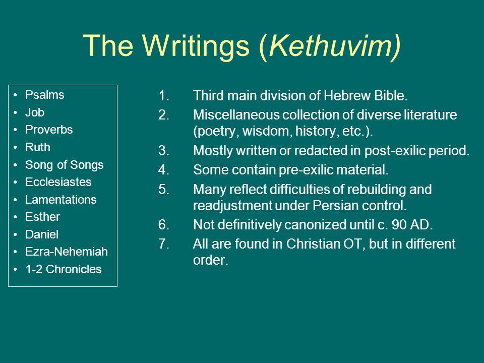The Writings (Kethuvim) Psalms Job Proverbs Ruth Song of Songs Ecclesiastes Lamentations Esther Daniel Ezra-Nehemiah 1-2 Chronicles 1.Third main division of Hebrew Bible.