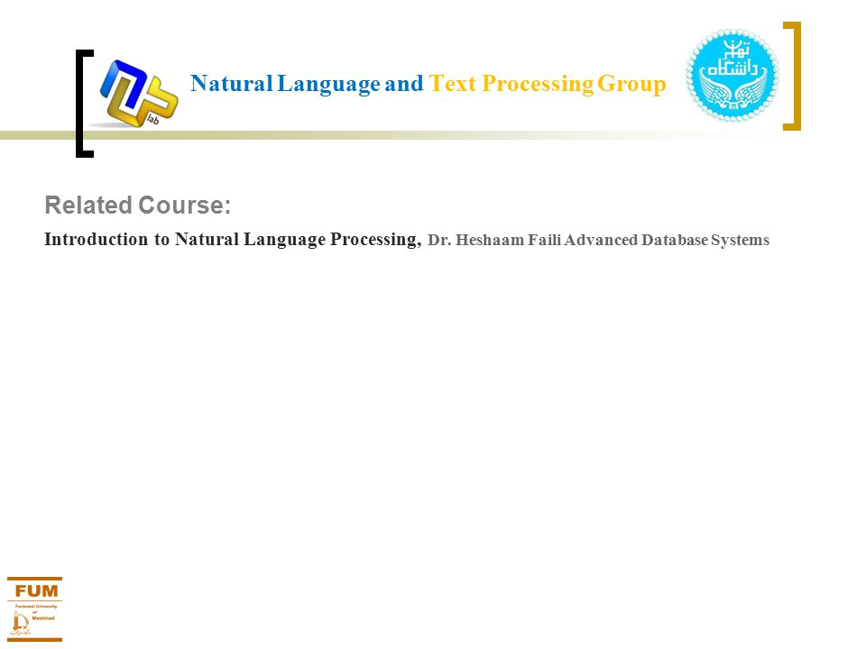 Related Course: Introduction to Natural Language Processing, Dr.