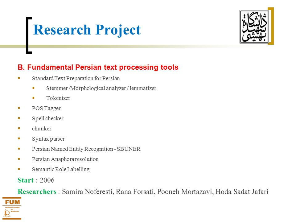 Research Project B.