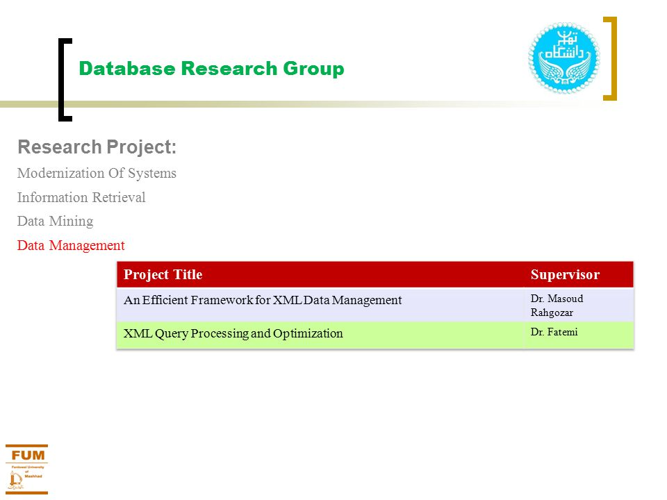 Database Research Group Research Project: Modernization Of Systems Information Retrieval Data Mining Data Management