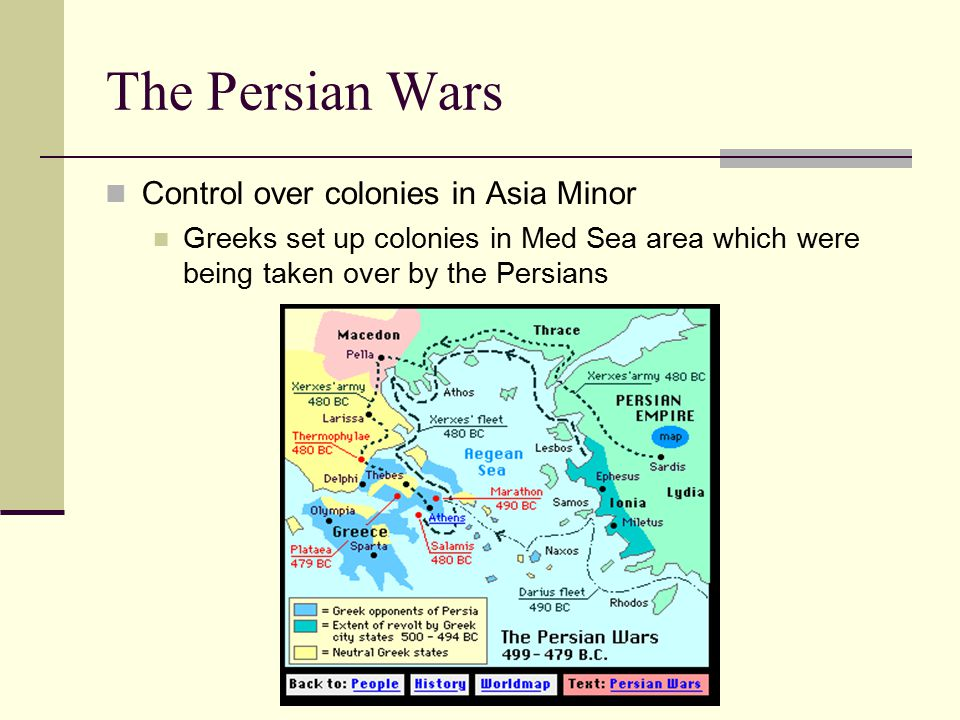 The Persian Wars Control over colonies in Asia Minor Greeks set up colonies in Med Sea area which were being taken over by the Persians