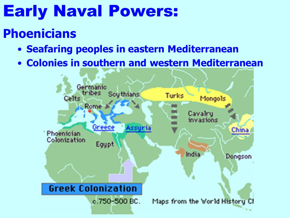 Early Naval Powers: Crete: First maritime-oriented civilization - use of the sea World's first Navy established (Circa 2,000 BC). Mahanian geographica