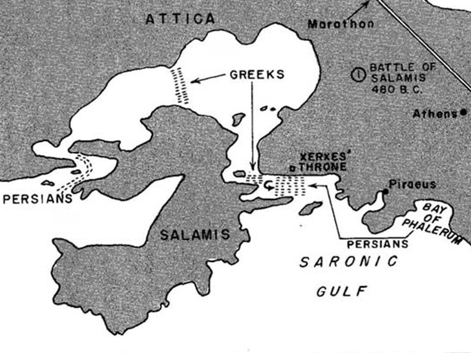 The Battle of Salamis (480 B.C.): 310 Greek triremes stood against 600 Persian galleys in the constricted bay of the Island of Salamis. Thermistocles