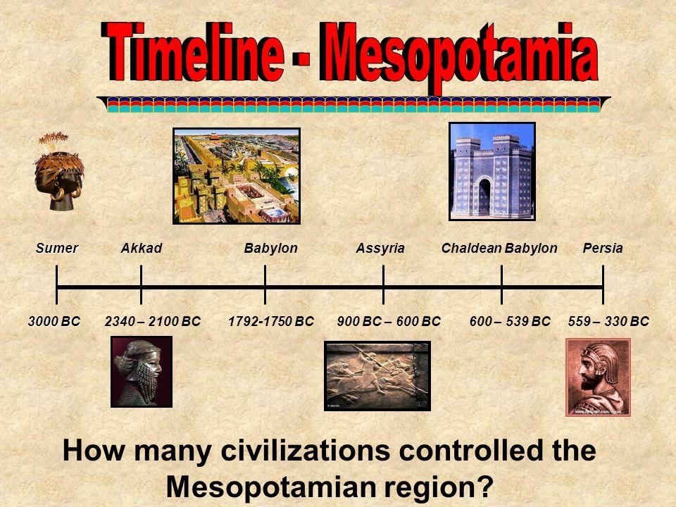3000 BC 2340 – 2100 BC1792-1750 BC900 BC – 600 BC SumerAkkadBabylonAssyria 600 – 539 BC Chaldean BabylonPersia 559 – 330 BC How many civilizations con