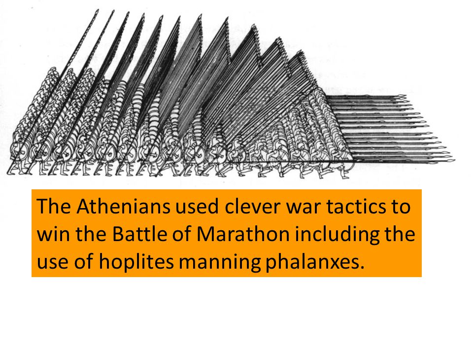 The Athenians used clever war tactics to win the Battle of Marathon including the use of hoplites manning phalanxes.