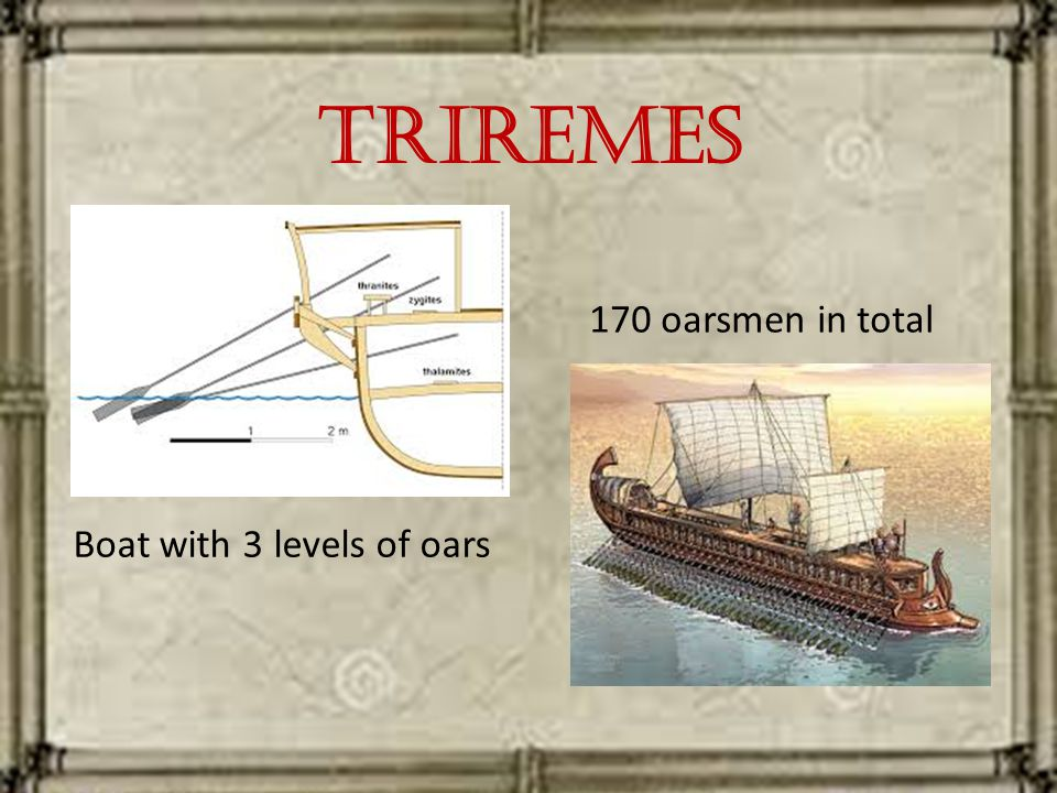 Triremes Boat with 3 levels of oars 170 oarsmen in total