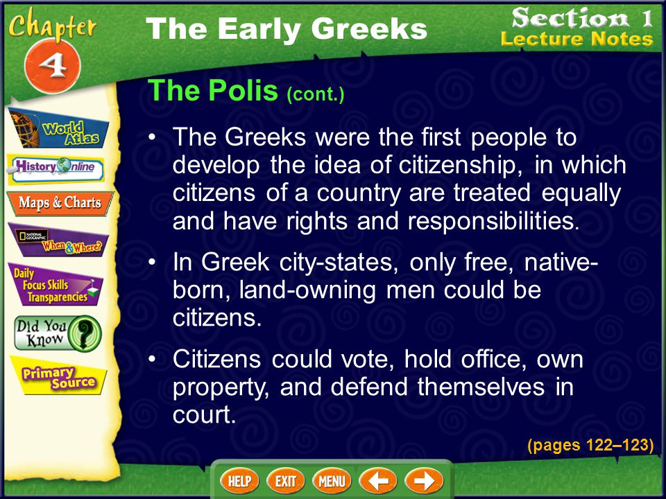 The Polis (cont.) The Greeks were the first people to develop the idea of citizenship, in which citizens of a country are treated equally and have rights and responsibilities.