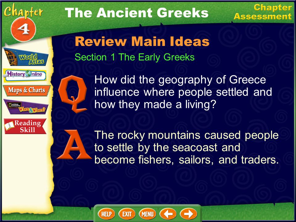Section 1 The Early Greeks How did the geography of Greece influence where people settled and how they made a living.