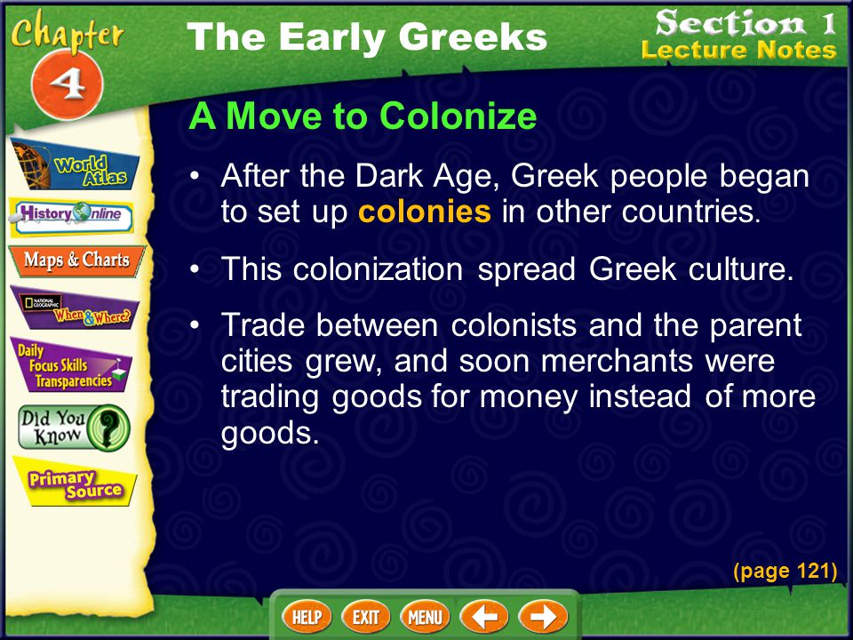 A Move to Colonize After the Dark Age, Greek people began to set up colonies in other countries.