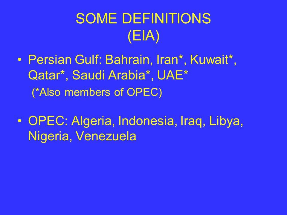 SOME DEFINITIONS (EIA) Persian Gulf: Bahrain, Iran*, Kuwait*, Qatar*, Saudi Arabia*, UAE* (*Also members of OPEC) OPEC: Algeria, Indonesia, Iraq, Libya, Nigeria, Venezuela