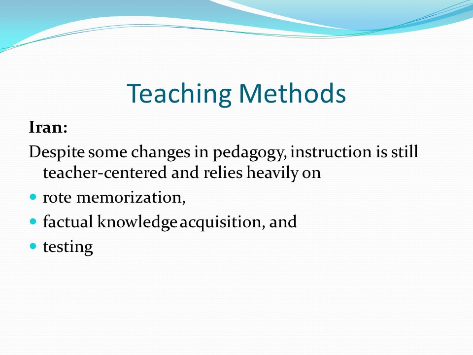 Subjects Taught at School Iran: Main disciplines: Persian/Farsi language: literature and grammar History and geography: Target country and the world Mathematics Science Religion English and Arabic languages (in high school) Physical education Arts (in elementary school)