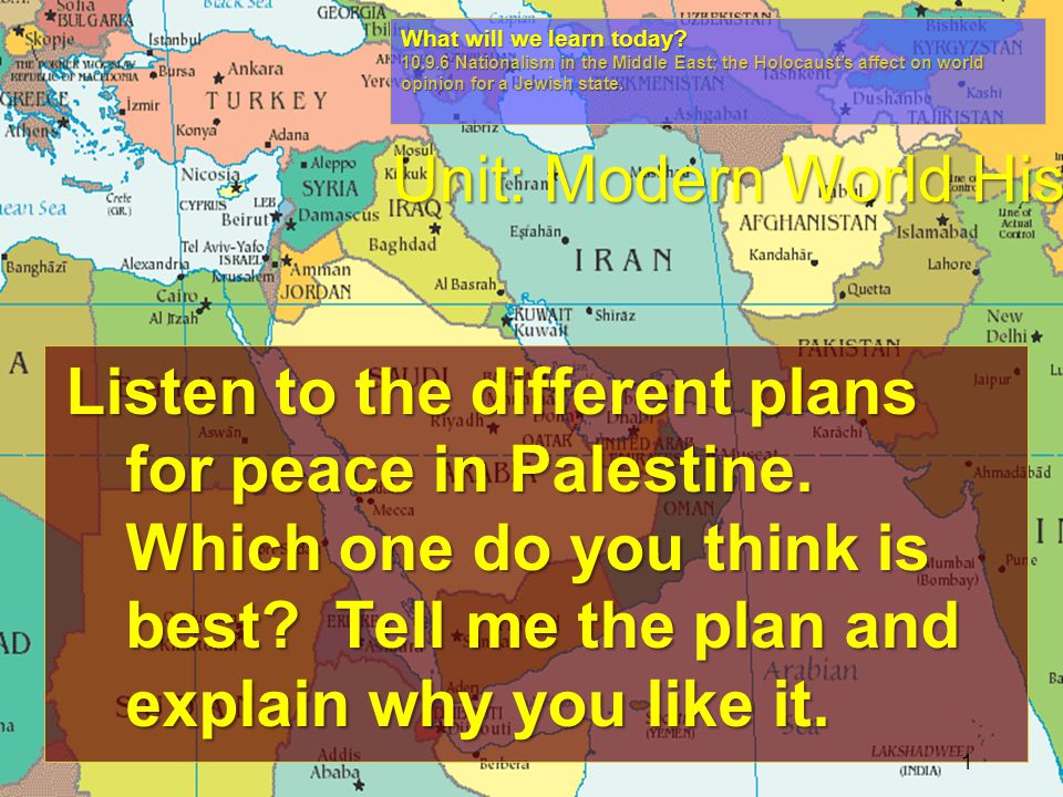 Listen to the different plans for peace in Palestine.