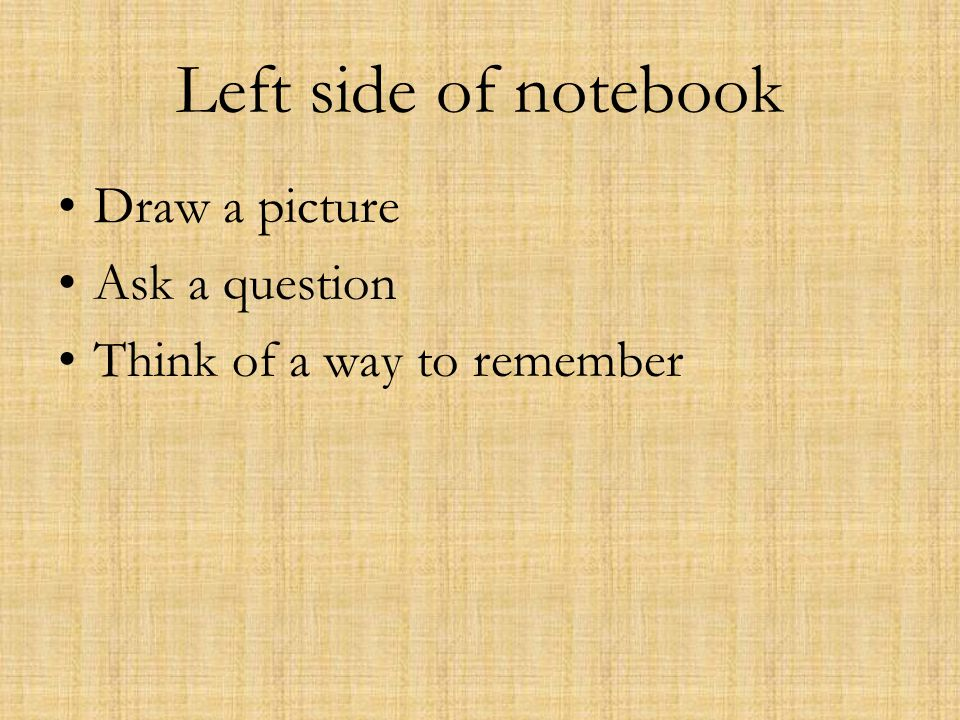 Left side of notebook Draw a picture Ask a question Think of a way to remember
