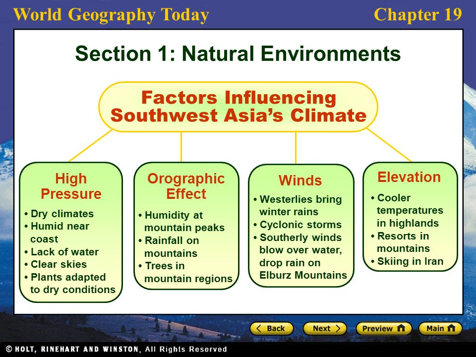 World Geography TodayChapter 19 Factors Influencing Southwest Asia's Climate Dry climates Humid near coast Lack of water Clear skies Plants adapted to