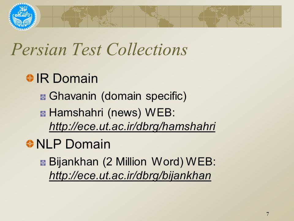 Persian Test Collections IR Domain Ghavanin (domain specific) Hamshahri (news) WEB: http://ece.ut.ac.ir/dbrg/hamshahri NLP Domain Bijankhan (2 Million