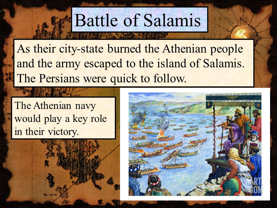 Battle of Salamis As their city-state burned the Athenian people and the army escaped to the island of Salamis.