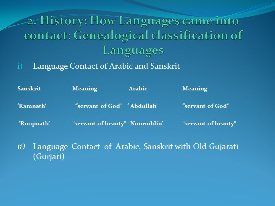 i) Language Contact of Arabic and Sanskrit SanskritMeaning ArabicMeaning 'Ramnath' servant of God ' Abdullah' servant of God 'Roopnath' servant of beauty ' Nooruddin' servant of beauty ii)Language Contact of Arabic, Sanskrit with Old Gujarati (Gurjari)