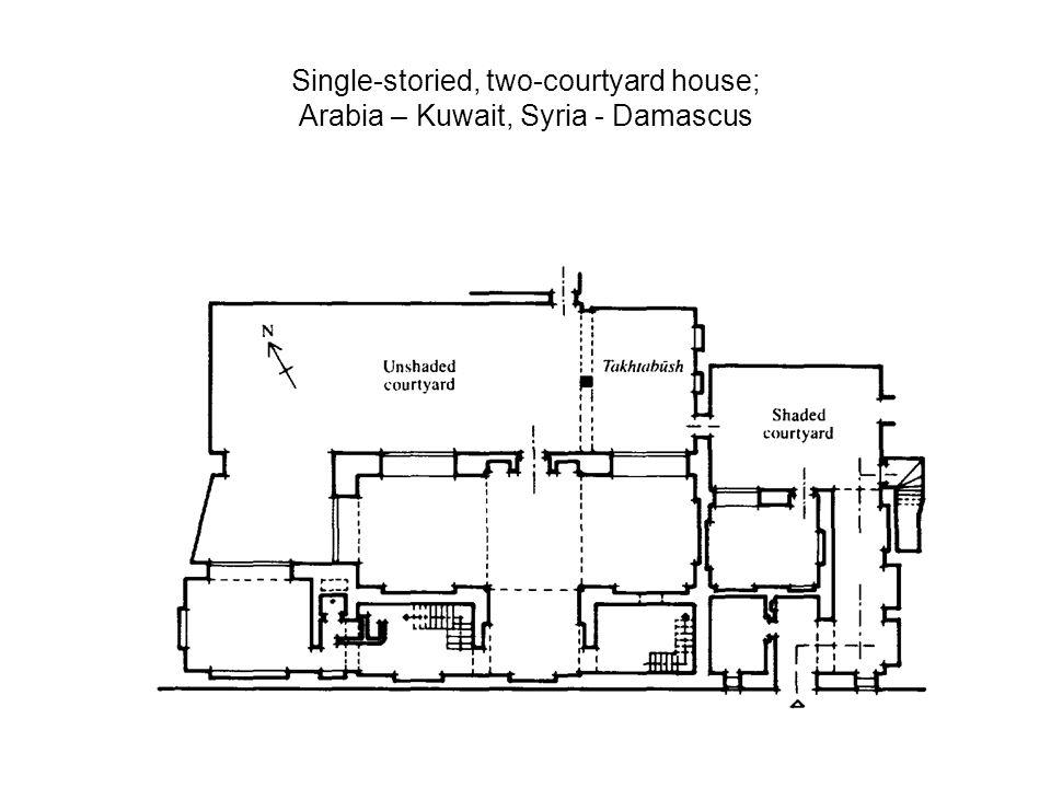 Single-storied, two-courtyard house; Arabia – Kuwait, Syria - Damascus