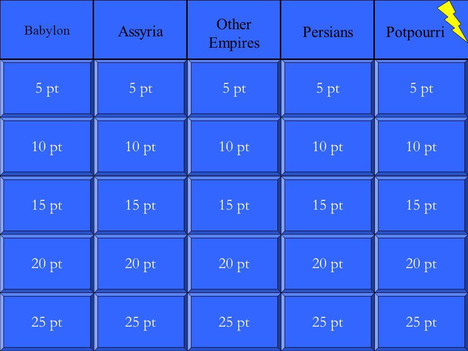 10 pt 15 pt 20 pt 25 pt 5 pt 10 pt 15 pt 20 pt 25 pt 5 pt 10 pt 15 pt 20 pt 25 pt 5 pt 10 pt 15 pt 20 pt 25 pt 5 pt 10 pt 15 pt 20 pt 25 pt 5 pt Babylon Assyria Other Empires PersiansPotpourri